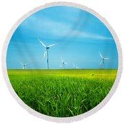 Wind Turbines On Green Field Round Beach Towel