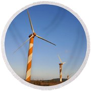 Wind Turbines  Round Beach Towel by Shay Levy