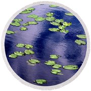 Wind Whirling The Lake Round Beach Towel