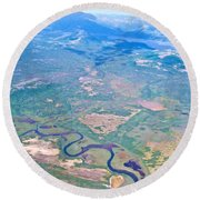 Winding River From The Seaplane In Katmai National Preserve-alaska Round Beach Towel