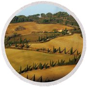 Winding Road And Cypress Trees In Tuscany 1 Round Beach Towel