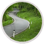 Winding Road In The Woods Round Beach Towel