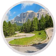 Winding Road To Pordoi Pass Round Beach Towel