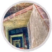 Winding Square Staircase Of Old Brick-walled Tower Round Beach Towel