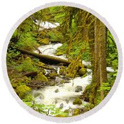 Winding Through The Forest Round Beach Towel