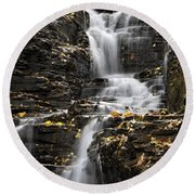 Winding Waterfall Round Beach Towel by Christina Rollo