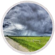 Windmill And Country Road With Storm Round Beach Towel