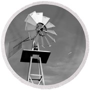 Windmill And Passing Plane Round Beach Towel