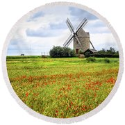 Windmill And Poppy Field In Brittany Round Beach Towel