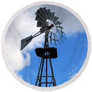 Windmill And Sky Round Beach Towel
