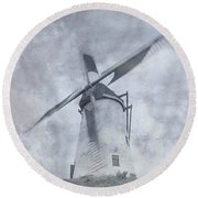 Windmill At Damme In Belgium Countryside Round Beach Towel