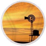 Windmill At Dawn 2008 Round Beach Towel