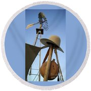 Windmill Canteen And Cowboy Hat 1 Round Beach Towel