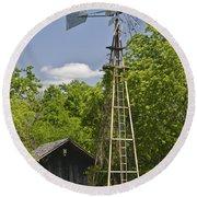 Windmill - Cedar Hill State Park Round Beach Towel