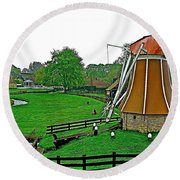 Windmill In A Park In Enkhuizen-netherlands Round Beach Towel