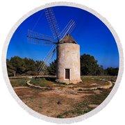 Windmill In El Pilar De La Mola On Formentera Round Beach Towel