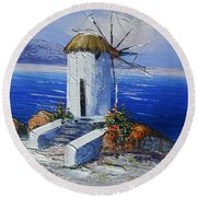 Windmill In Greece Round Beach Towel