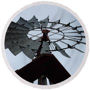 Windmill In The Clouds Round Beach Towel