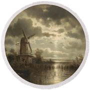 Windmill In The Moonlight Round Beach Towel