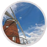 Windmill In The Sky Round Beach Towel