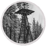 Windmill In The Snow Black And White Round Beach Towel