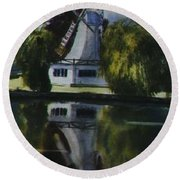 Windmill In The Willows Round Beach Towel