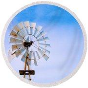 Windmill In Winter Round Beach Towel