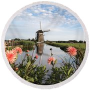 Windmill Landscape In Holland Round Beach Towel