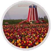 Windmill Of Flowers Round Beach Towel