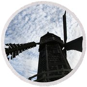 Windmill On A Cloudy Day Round Beach Towel