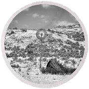 Windmill On A Hill Round Beach Towel