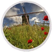 Windmill Poppies  Round Beach Towel