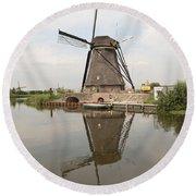 Windmill Reflection Round Beach Towel