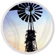 Windmill Silhouette Round Beach Towel