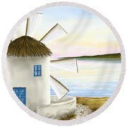 Windmill Round Beach Towel by Veronica Minozzi
