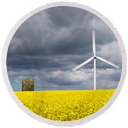 Windmill With Motion Blur In Rapeseed Field Round Beach Towel
