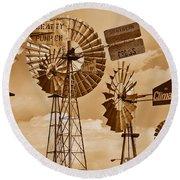 Windmills In Sepia Round Beach Towel