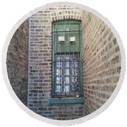 Window Against The Wall Round Beach Towel