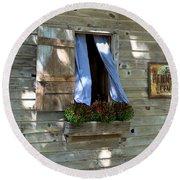 Window And Flowerbox Round Beach Towel