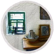 Window And Little Dressing Table In An Old Thatched Cottage Round Beach Towel
