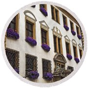 Window Boxes In Germany Round Beach Towel