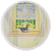 Window Geese Round Beach Towel