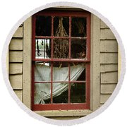 Window - Glimpse Into The Past Round Beach Towel