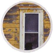 Window In Abandoned House Round Beach Towel by Jill Battaglia