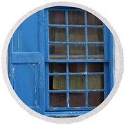 window in blue - British style window in a mediterranean blue Round Beach Towel