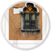 Window In Verona Poster Round Beach Towel
