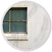 Window On Concrete Round Beach Towel
