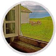 Window On Sod-covered Roof In Louisbourg Living History Museum-1744-ns Round Beach Towel