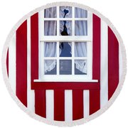Window On Stripes Round Beach Towel by Carlos Caetano