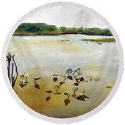 Window On The Waterfront Round Beach Towel